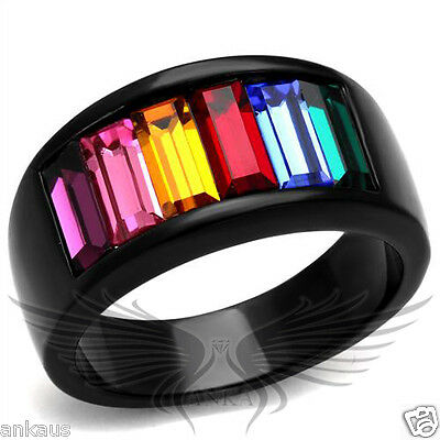 Rainbow Top Grade Crystal Cocktail Black IP Fashion Ring 5 6 7 8 9 10 TK1415J
