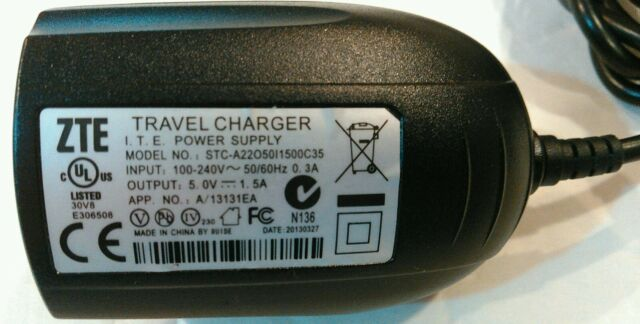 ZTE Stc- A22o50i1500c35 Travel Charger Power Supply Output 5 0v 1 5a