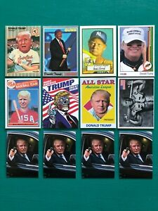 Lot-of-12-DONALD-TRUMP-President-Baseball-Cards-with-Limo-Glock-Gun-Stickers