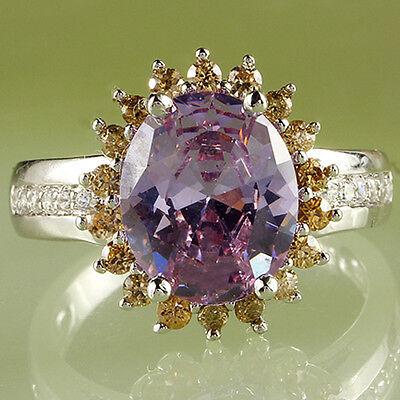 Fascinate Jewelry Oval Cut Tourmaline & Morganite Gemstone Silver Ring Size 9