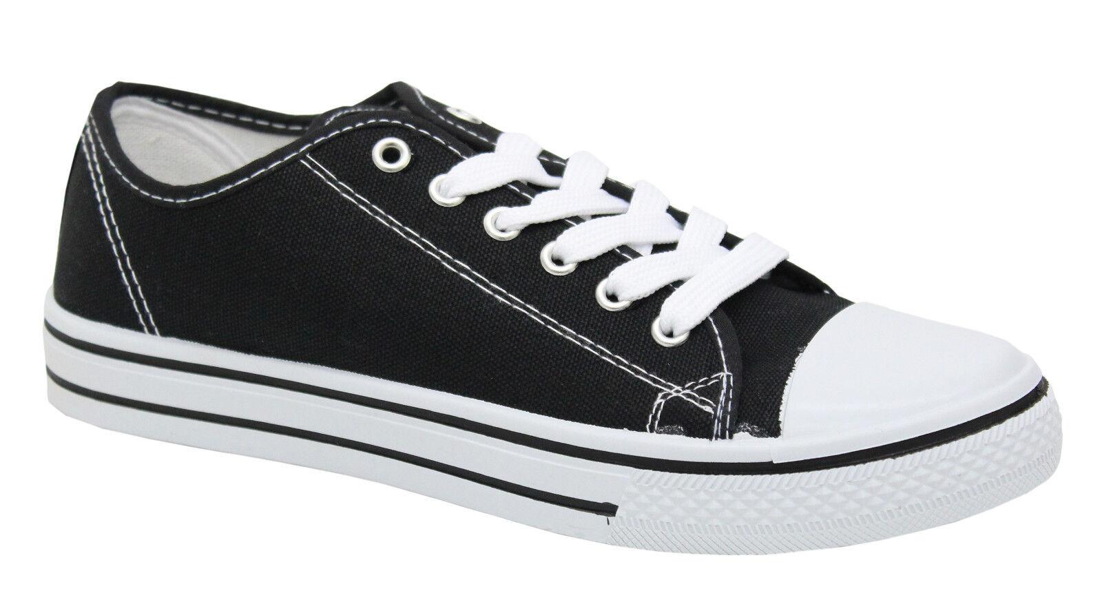 Piatti di Donna da Donna in Tela con Lacci Scarpe da Ginnastica Scarpe Sneakers Trainer Pompe Misura, Grigio (Dark Grey),