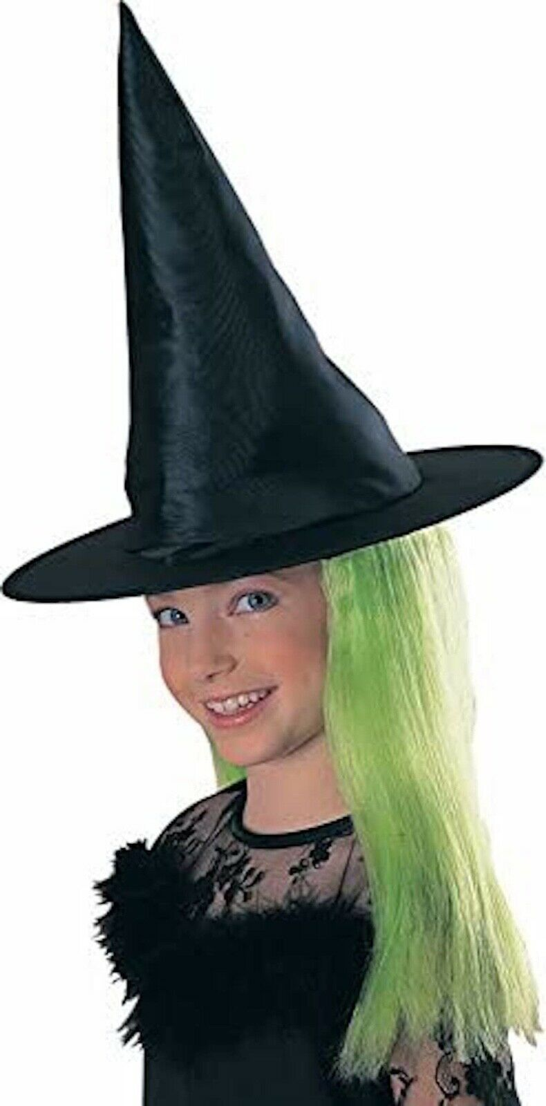 Rubie's Child's Witch Hat with Green Hair, Fancy Dressing Party Celebrations