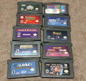 Nintendo-Gameboy-Advance-Game-amp-Video-Lot-Of-10-GBA-Pacman-Quad-Star-Wars-Tetris