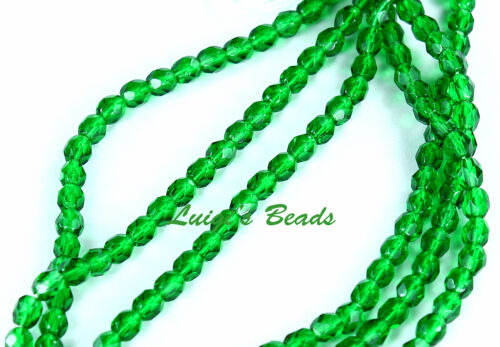 50 Green Emerald Czech Firepolished Faceted Round Glass Beads 4mm