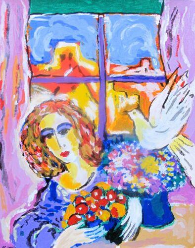 "ZAMY STEYNOVITZ /""DOVE AT THE WINDOW/"" Limited Edition Art Serigraph"