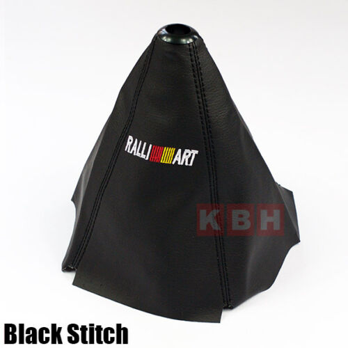 Universal PVC Leather Shifter Shift Gear Knob Boot Cover Ralliart Black Stitch