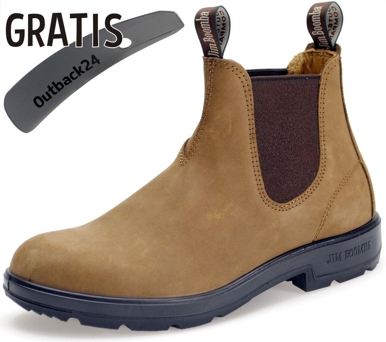 Jim Boomba Chelsea Stiefel Stiefelette UNISEX Freizeit Büro - Clay mit Schuhlöffel