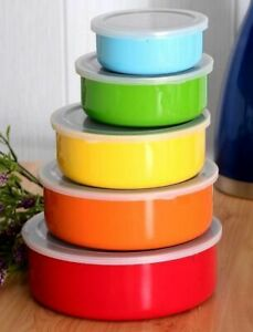 5-Piece-Colored-Stainless-Steel-Mixing-Bowl-Food-Storage-Set-w-Plastic-Lids