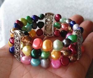 Suesswasser-Perle-Armband-3-Reihen-8-9-mm-Mehrfarbig-Barock-Perle-Stretch-Armband