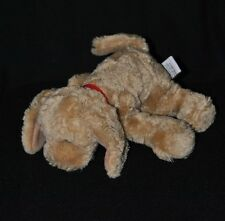 Peluche doudou chien GUND brun marron collier rouge 18 cm de long NEUF