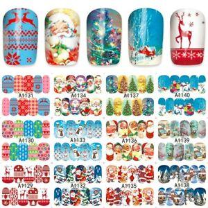Nail-Art-Stickers-Decals-Santa-Reindeer-Christmas-Tree-Xmas-A1129-1140
