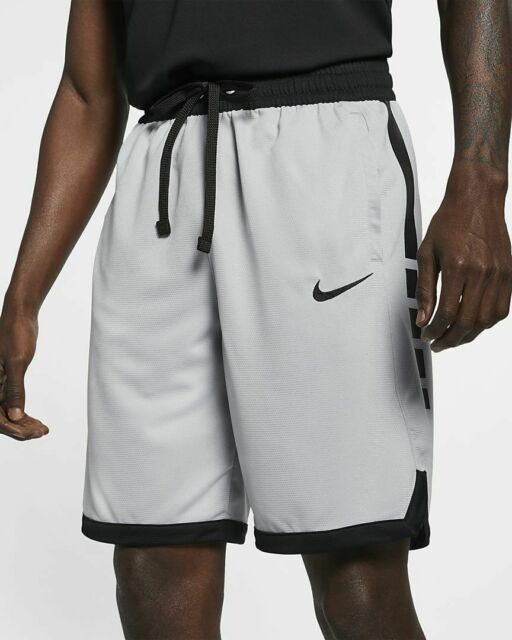Nike Elite Stripe Basketball Shorts Wolf Grey Black   Medium