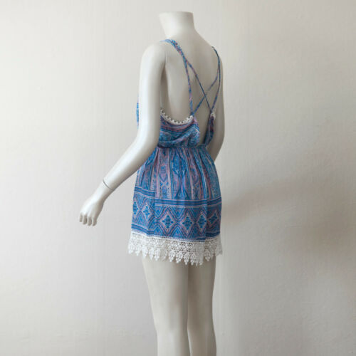 Blue Tribal Print Surplice Neck Sleeveless Romper// Medium