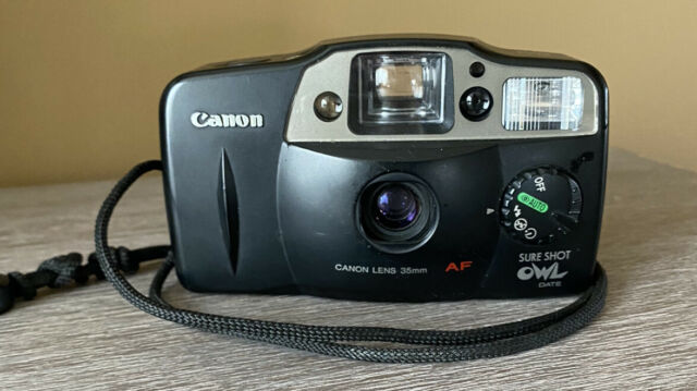 Canon Sure Shot Owl Date 35mm Point & Shoot Film Camera Used And Tested
