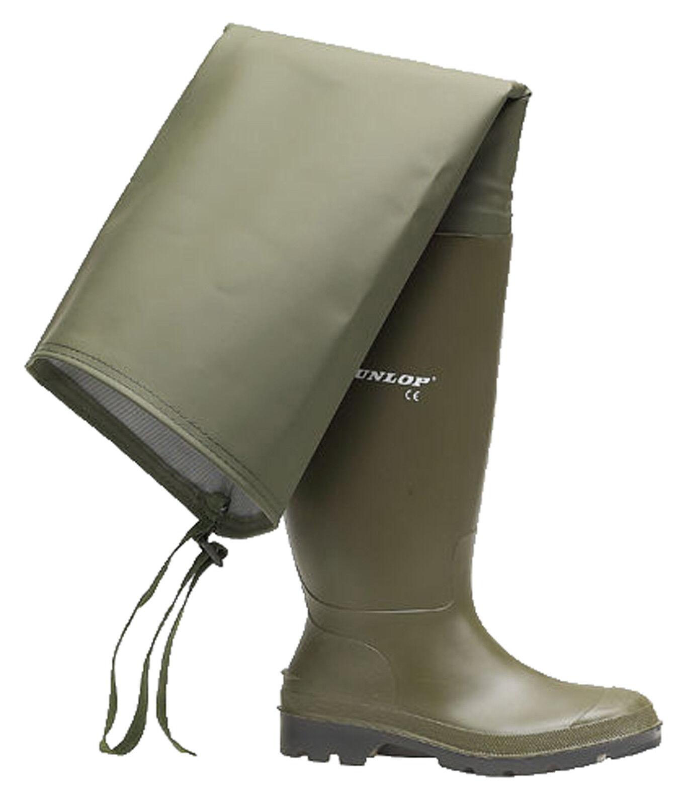 Dunlop Verde Pesca Coscia Waders Stivali di gomma uomo Stivali di gomma da uomo gomma misura 6-12 b8365d