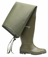 Dunlop Fishing Green Thigh Waders Wellies Mens Wellingtons Boots Size 6-12