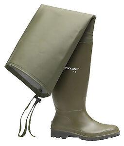 éNergique Dunlop Pêche Vert Cuisse Cuissardes Wellies Homme Wellington Bottes Taille 6-12-afficher Le Titre D'origine