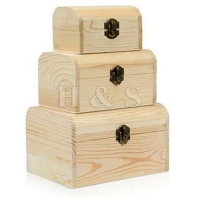 3x Plain Wooden Pirate Treasure Chest Wood Jewellery Storage Decoupage Craft Box