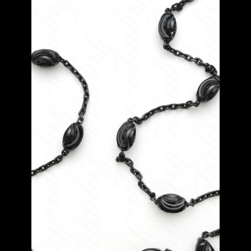 ITALY Black Rhodium Moon-cut Oval+Anchor Chain Necklaces-Ruthenium P Over Silver