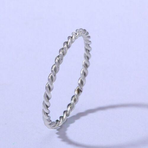1.5 mm Twisted corde Queue Bague Argent//Or//Rose Or//Mariage Bande Femme Sz 4-9