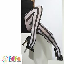 BLACK & WHITE OPAQUE LONG STRIPES TIGHTS PANTYHOSE ladies womens hosiery