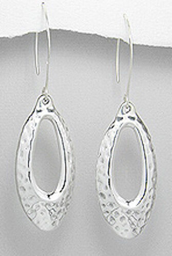 """Stylish 5.7g Solid Sterling Silver 70mm=2.75/"""" Long Hammered Oval Dangle Earrings"""