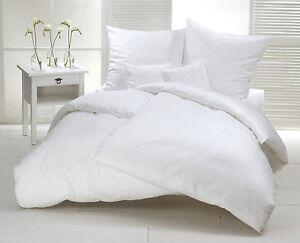 Biber Bettwäsche Weiß Uni 155x220 Cm Flanell Baumwolle Warm Winter