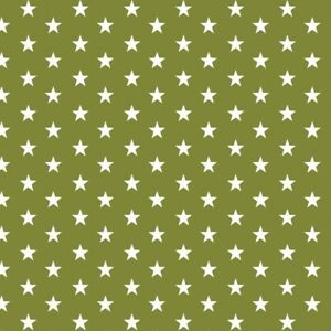 Cotton Classics Large White Star on Moss Green Stars Moss Green 100/% Cot