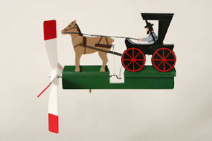 Amish-Gentlemen-Horse-amp-buggy-Wooden-Hand-Painted-Wind-Whirligig-29