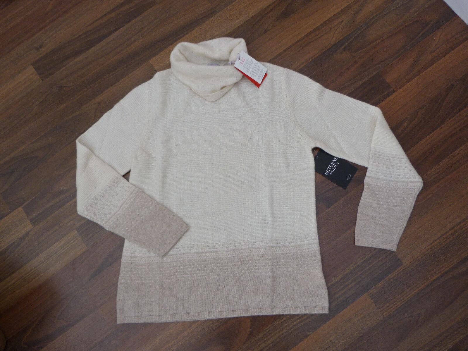 BNWT Pure Collection Gassato cashmere Natural white polo sweater sz 16
