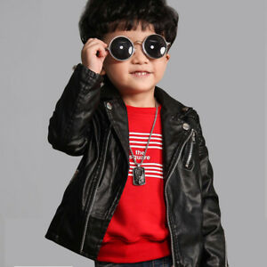 129bd9346 Kids Baby Girls Pu Leather Jacket Zipper Coat Especially 2-5 years ...