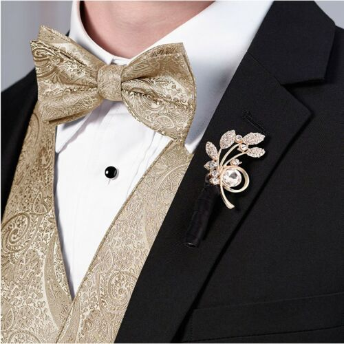 Wedding Boutonniere Pin Rhinestone Leaf Groom Buttonhole Accessories Lapel