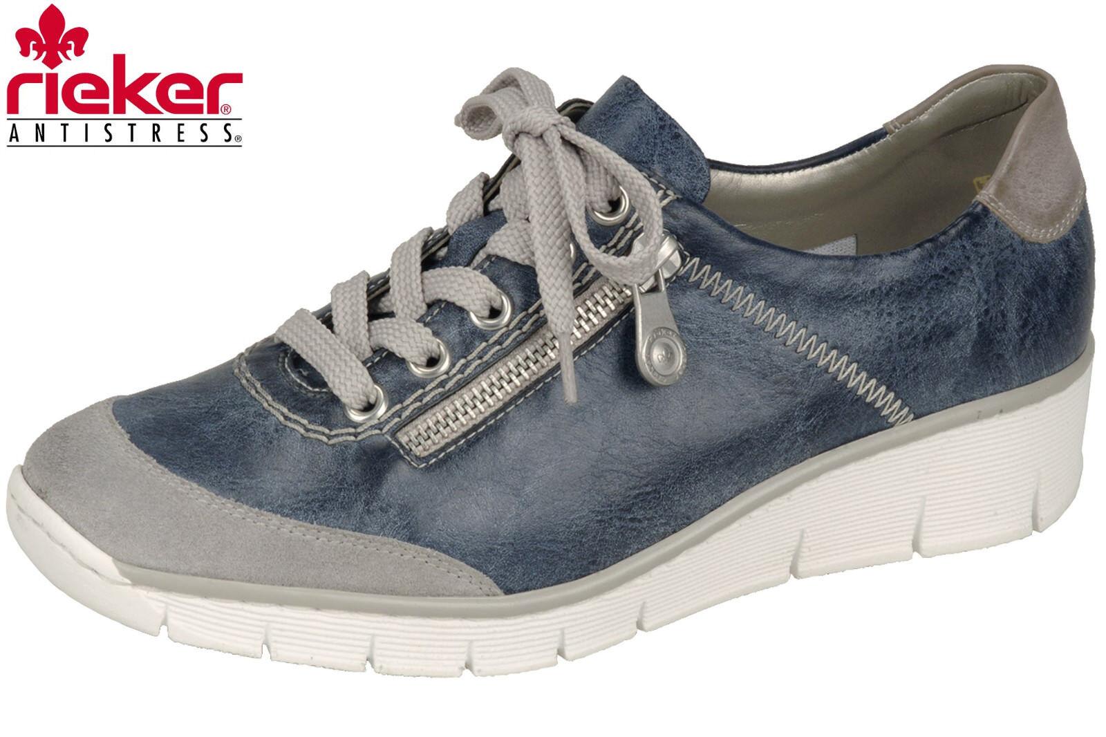 Rieker Damen Sneaker Blau Grau Leder Optik Sommer Schuhe 53721-41 NEU