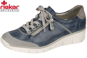 Das Bild wird geladen Rieker-Damen-Sneaker-Blau-Grau-Leder-Optik-Sommer- b6c935350d