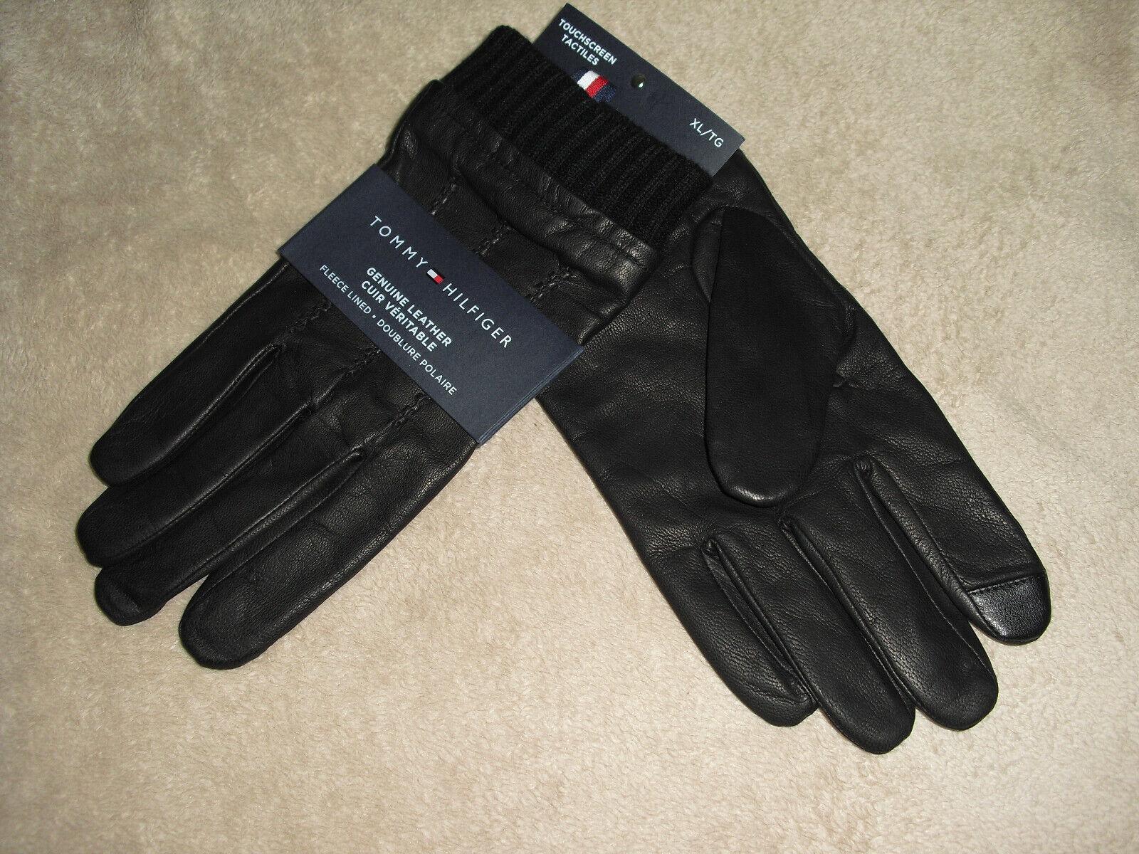 ! nuevo! Tommy Hilfiger Para Hombre XL/TG Guantes De Cuero Negro con Pantalla Táctil