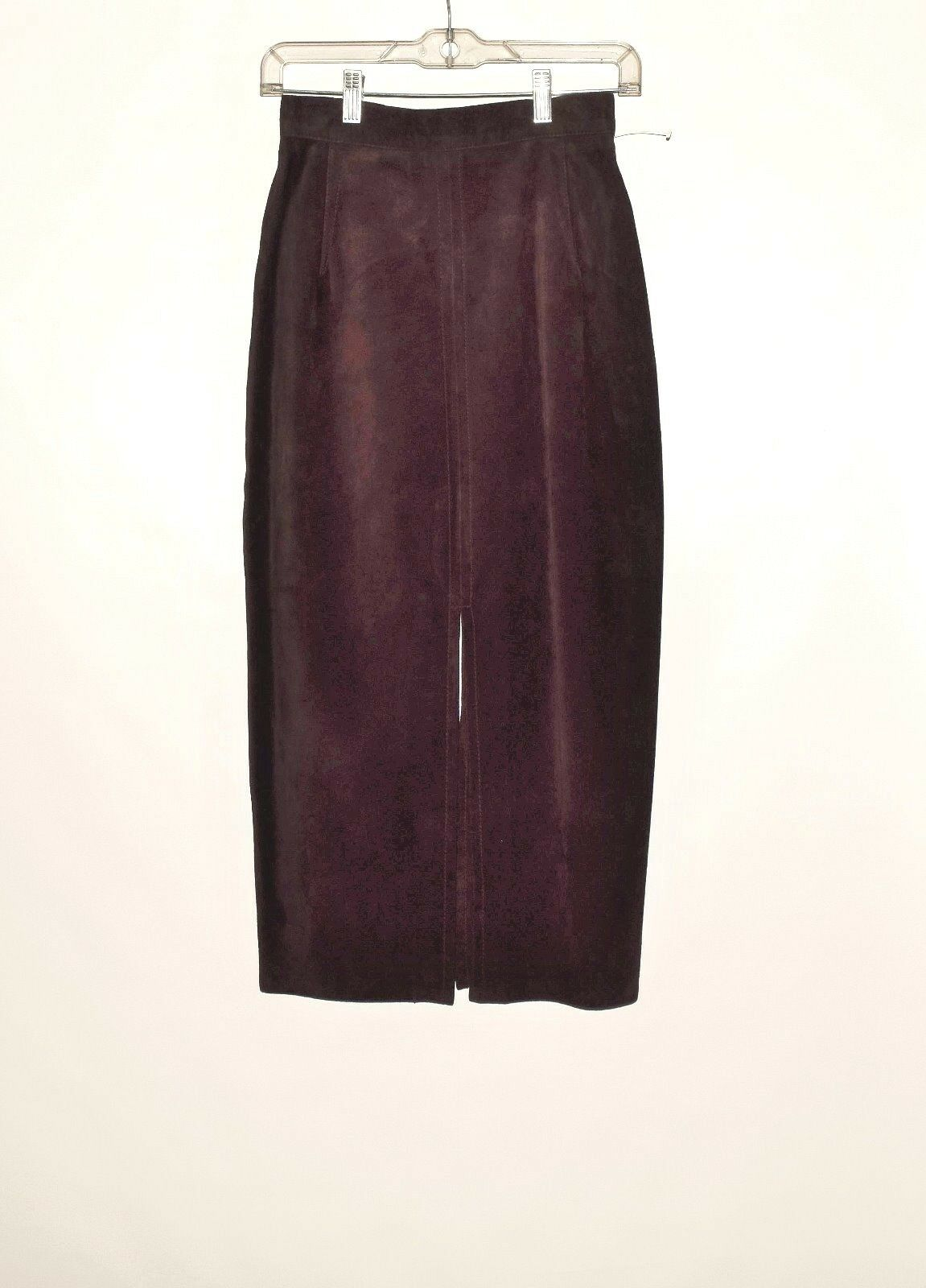 New XOE New York Genuine Leather Suede Chocolate color Women's Pencil Skirt Sz 4