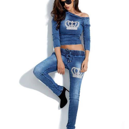 By Alina 2-Divisorio Jeans Jeans a Sigaretta Pantaloni Jogging damentop DONNA SHIRT STRASS XS-M