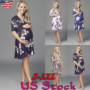 90dd0a7e169c0 Image is loading Womens-Floral-Pregnancy-Maternity-Short-Dress -Breastfeeding-Nursing-