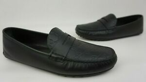 4086939155c Gucci Men s Black Leather GG Guccissima Driving Loafers Shoes Size ...