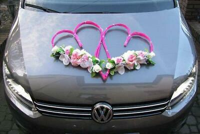 Unique Wedding Car Decoration Set Pink Hearts Flowers And Free