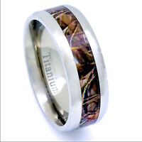 Men's Camo Hunters Wedding Band 8mm Comfort Fit Tree Wood Rings Titanium