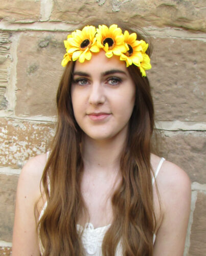Large Sunflower Headband Vintage Flower Festival Boho Yellow Daisy Beach Big P05