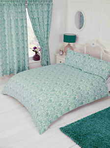 Details about Annette Duck Egg Floral Damask Teal Blue Green White Bedding  Or Curtains