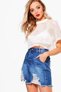 Boohoo-Lucy-Denim-Ladder-Fray-Hem-Mini-Skirt-Size-UK-6-LF083-PP-22