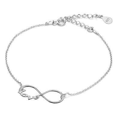 925 Sterling Silver Bracelet With Love Infinity Symbol Length 6.3`-7.9