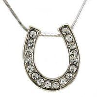 Western Lucky Horseshoe Necklace Chain Clear Crystal Rhinestone Designer Pendant