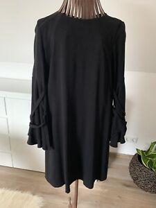 Midi Kleid V Esprit Gr 36 Schwarz Trompetenarmel Volantarmel Ebay