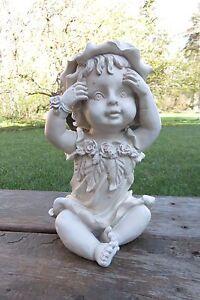 angel baby girl with bonnet garden figurine ornament resin new yard