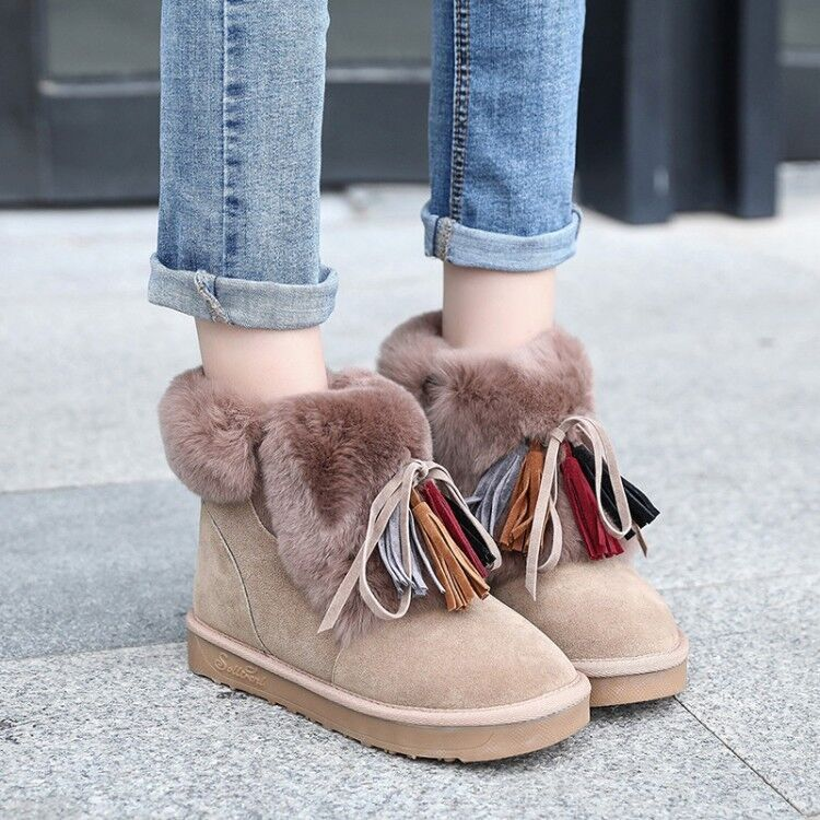 Womens Snow Ankle Boots Flats Casual Winter Fur Lined shoes Fringe Suede Fashion