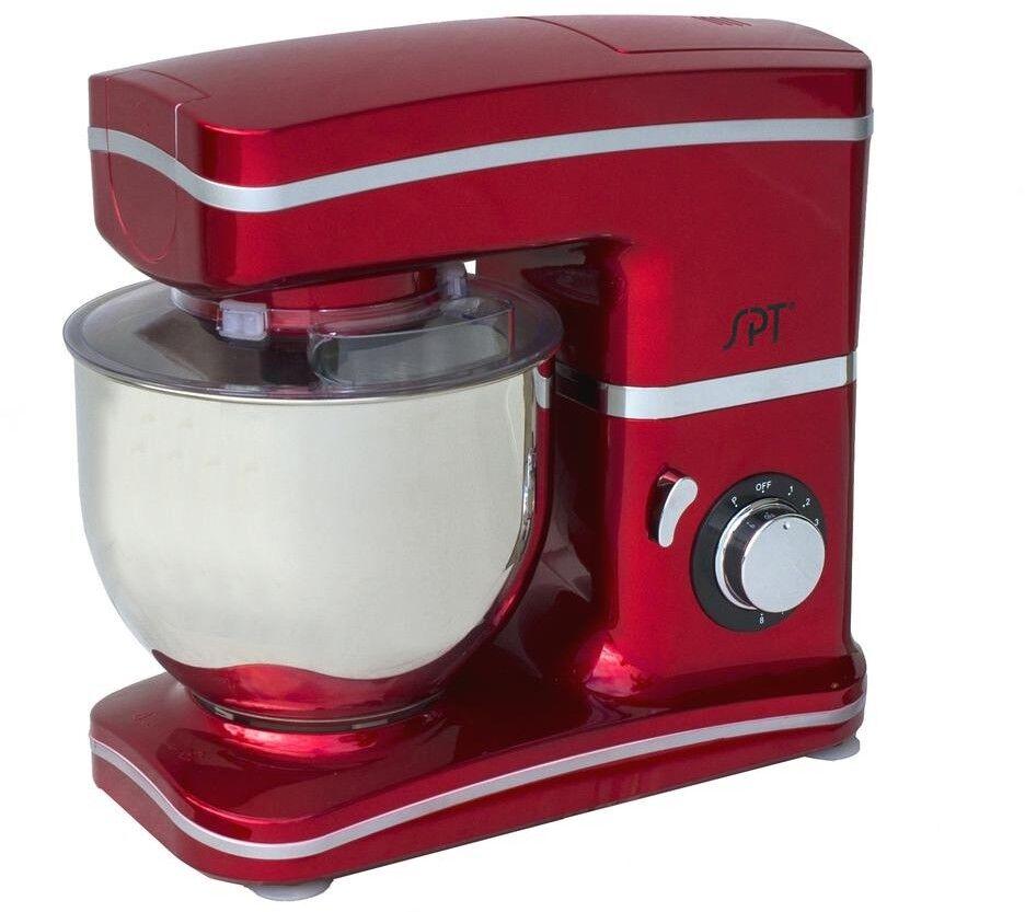 SPT 5.5 Qt Tilt Head Stand Mixer 8-Speed Pulse 750W Whisk Dough Hook Blade Red